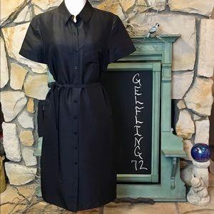 Talbots Silk Black Button up Dress